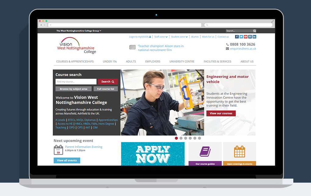 A screenshot of the homepage from the Vision West Nottinghamshire College website