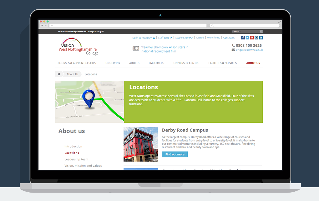 A screenshot of the About us Locations page from the Vision West Nottinghamshire College website