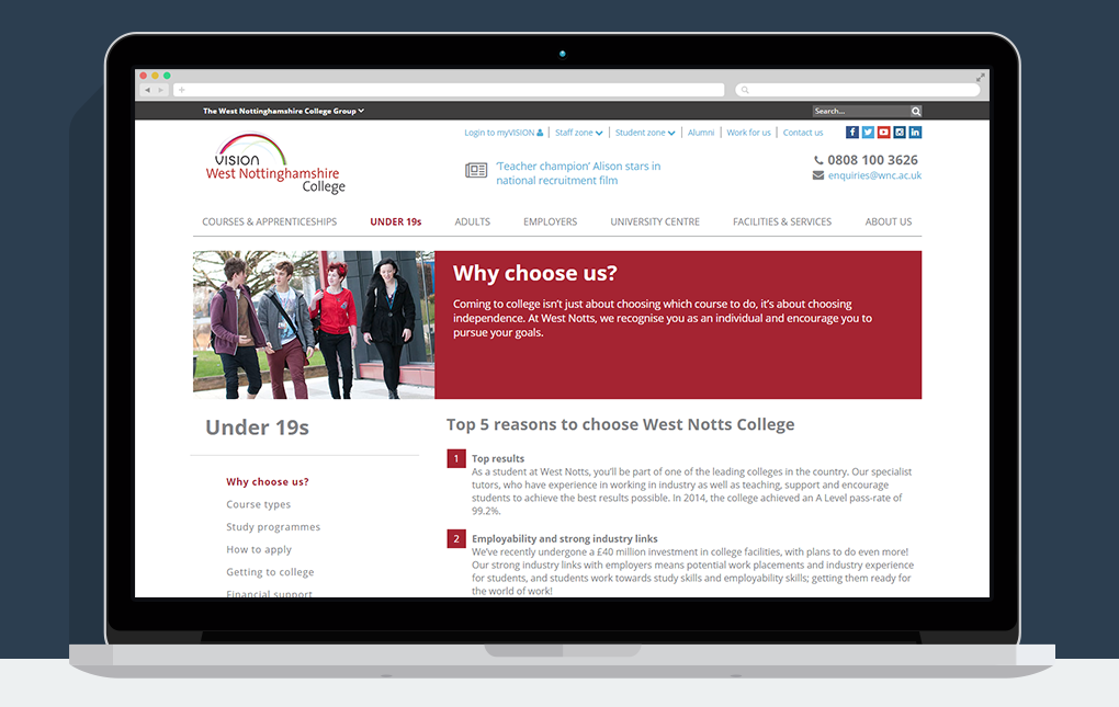 A screenshot of the Under 19s Why Choose us page from the Vision West Nottinghamshire College website