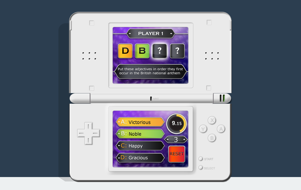 An image of a Nintendo DS showing the Fastest Finger First screen from Who Wants to be a Millionaire