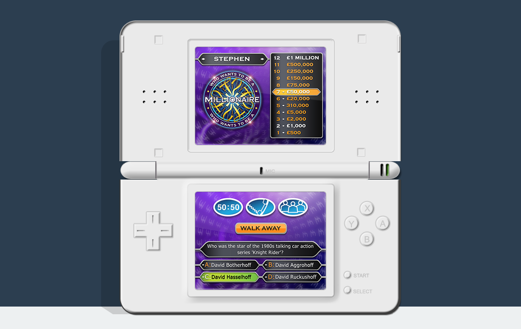 An image of a Nintendo DS showing the game screen from Who Wants to be a Millionaire