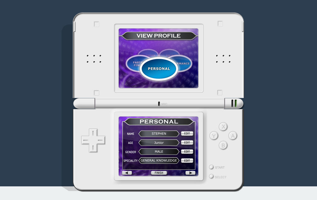 An image of a Nintendo DS showing the View Profile screen from Who Wants to be a Millionaire