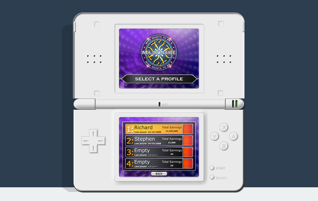 An image of a Nintendo DS showing the Select a Profile screen from Who Wants to be a Millionaire