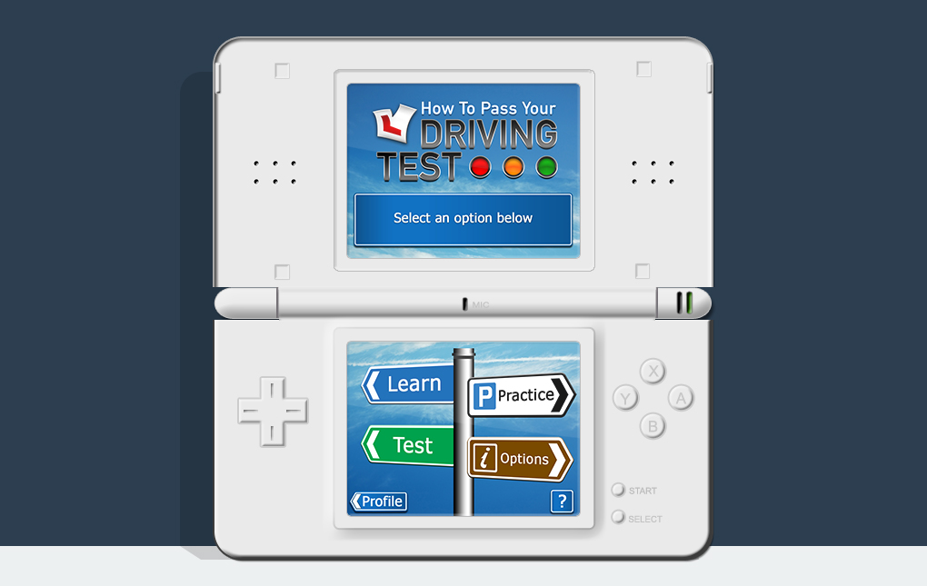 An image of a Nintendo DS showing the main menu screen from How To Pass Your Driving Test