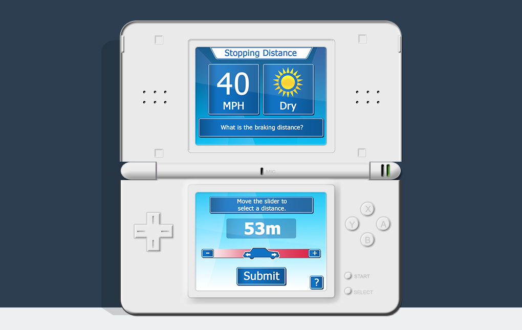 An image of a Nintendo DS showing the stopping distance mini game screen from How To Pass Your Driving Test