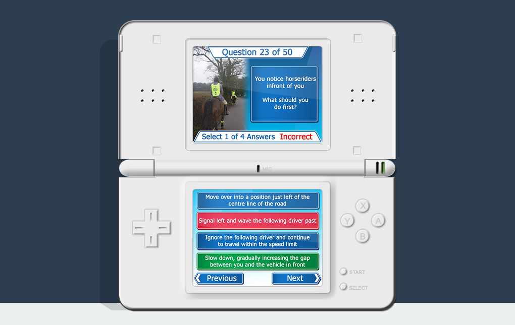 An image of a Nintendo DS showing a question screen from How To Pass Your Driving Test