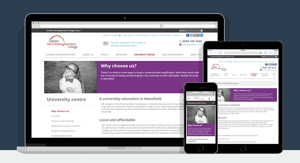 A view of the Vision West Nottinghamshire College website on various devices including tablet and mobile