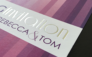A close up look at the detail in a contemporary wedding invitation