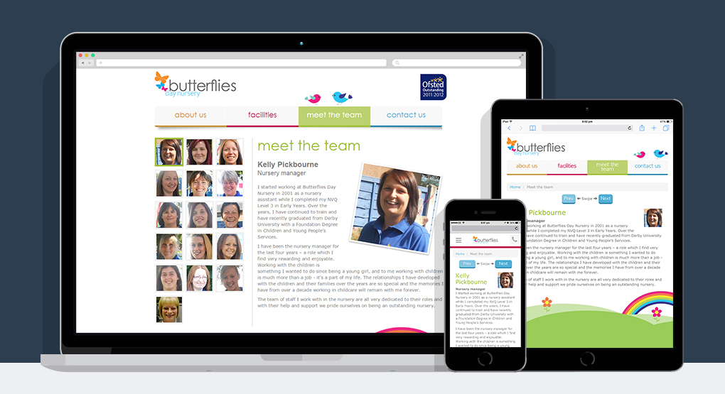 A responsive view of the Butterflies Day Nursery website displayed on a desktop, mobile and tablet