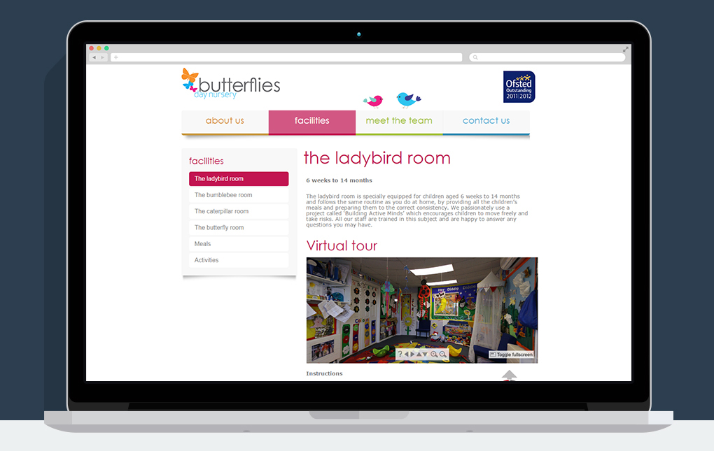 A screenshot of the Ladybird room page on the Butterflies Day Nursery website