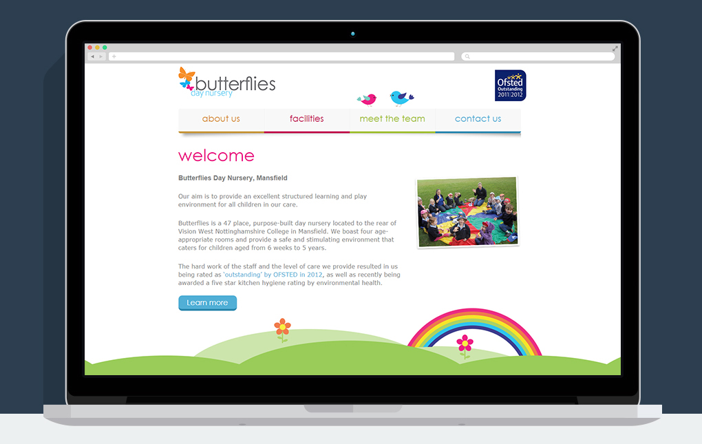 A screenshot of the homepage on the Butterflies Day Nursery website