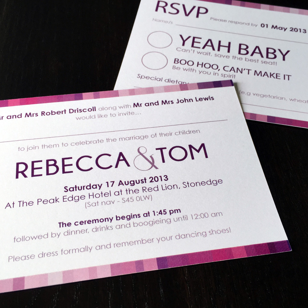 A contemporary wedding invitation