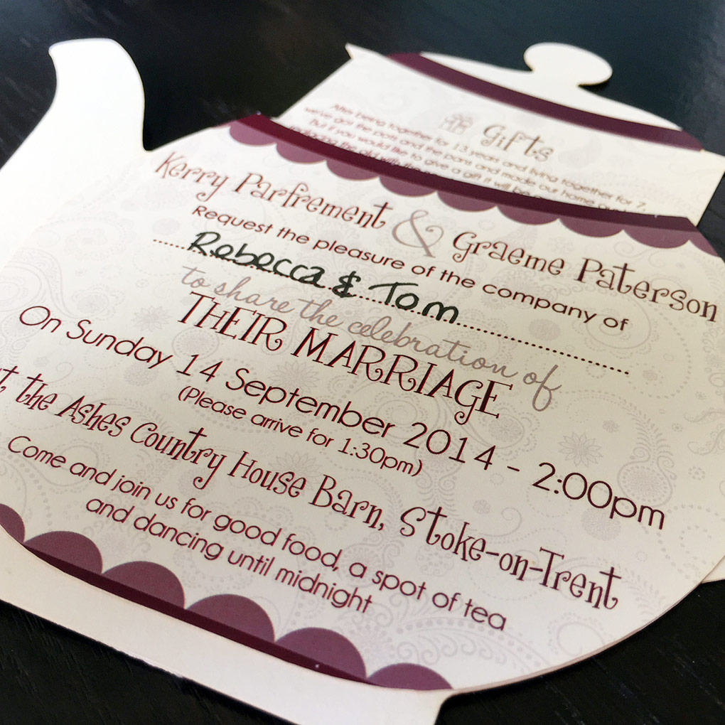 A look at the detail of a teapot shaped wedding invitation